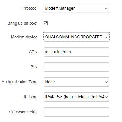 OpenWrt LuCI ModemManager options